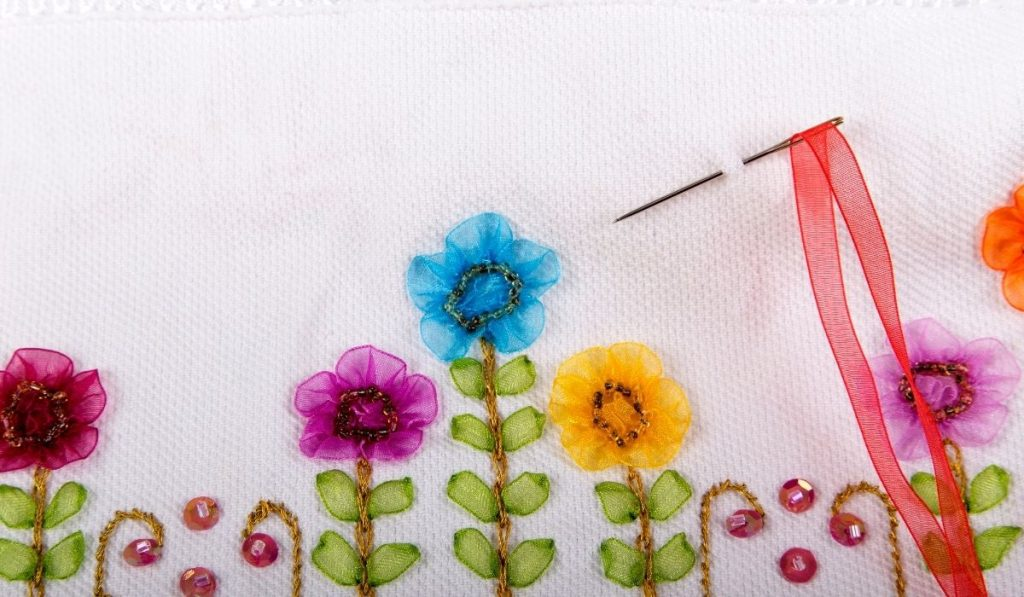 embroidered flower ribbons