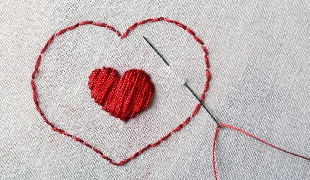 embroidered heart with needle