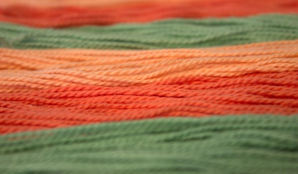 orange and green cotton embroidery threads
